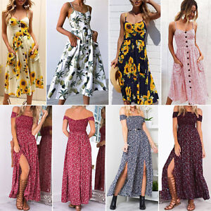 Womens-Boho-Holiday-Floral-Long-Maxi-Dress-Off-Shoulder-Party-Beach-Sundress-2XL