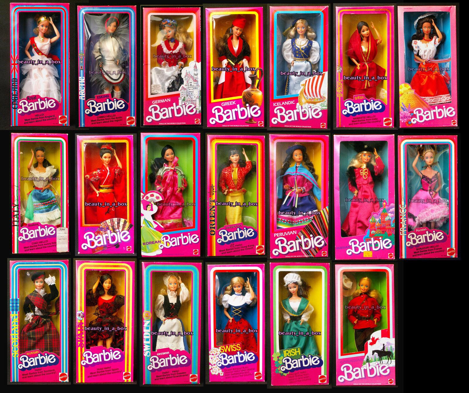 India Barbie escocés italiano Royal Inglaterra español Muñecas del mundo primera edición 20