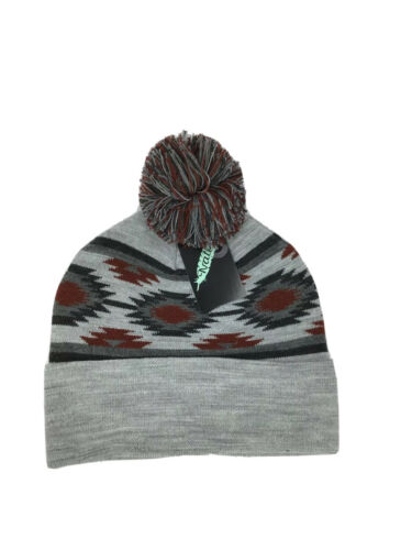 Southwestern Stocking Hat With Pom Pom Gray Red Mens Womens
