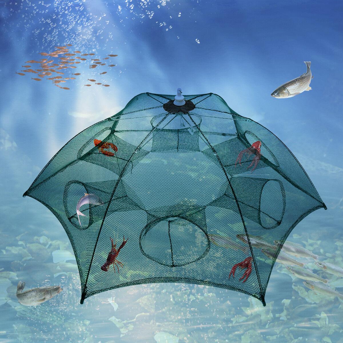 Crawdad Shrimp Cast Dip Cage Fish Minnow Foldable Fishing Trap Net Crab K6Q2