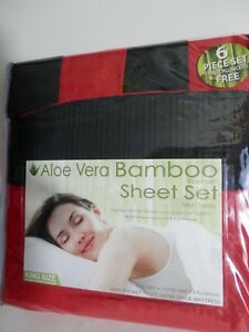 Aloe Vera Bamboo Essence 6 Piece Sheet Set 1800 Series Red Trim Blk