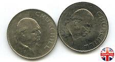 A Pair 1965 British Cupro-Nickel ELIZABETH II CHURCHILL COMMEMORATIVE CROWNS