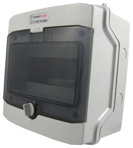 Sicherungskasten Aufputz IP65 Feuchtraum Verteiler Gehäuse 1-reihig 8 Module NEU