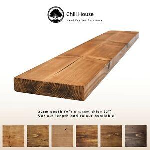 Rustic-Floating-Shelf-Wood-Solid-Chunky-Handmade-with-Brackets-9x2