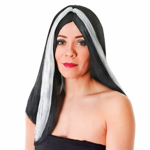 "BLACK LONG WIG WITH WHITE STREAK 18/"" CRUELLA FANCY DRESS COSTUME ACCESSORY"