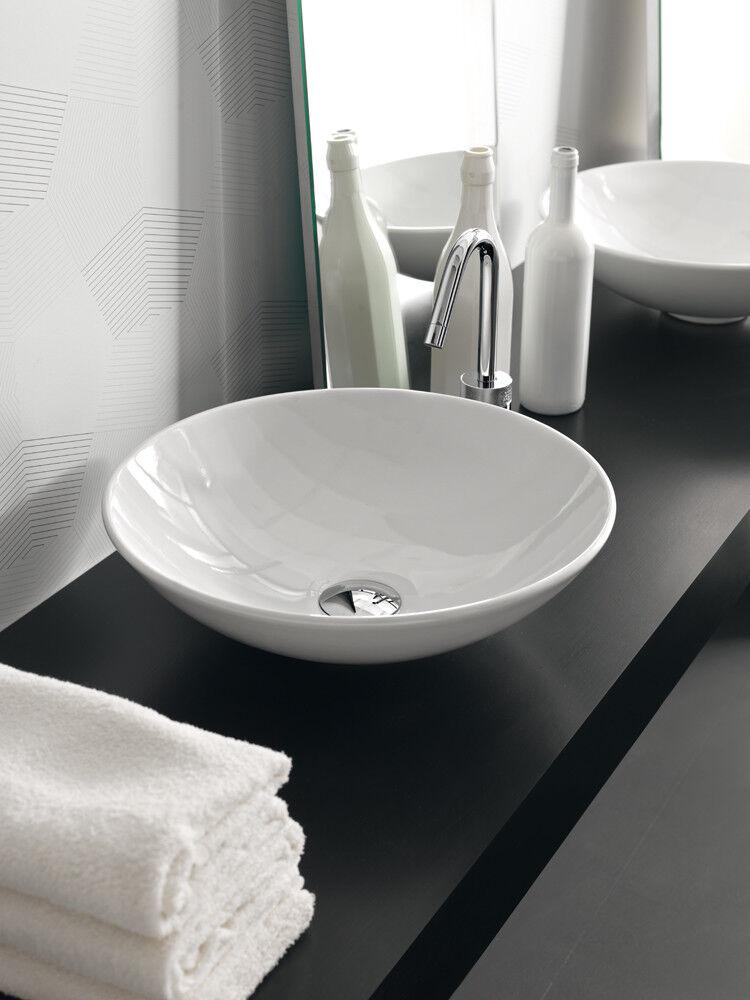 Lavandino Lavabo Tondo da appoggio Design Polis in Ceramica 41 cm -bianco o noir