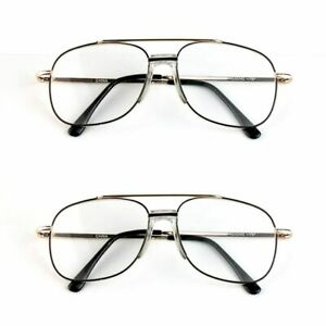 4acd0c3e20a Details about Quality Metal Frame Aviator Clear Len Reading Glasses Spring  Hinge +2.75 aa