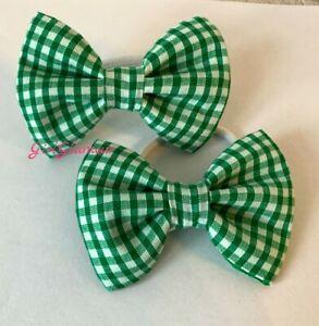 Handmade Girls Navy Blue Gingham School  Bow Hair Bobbles Sold In Pairs