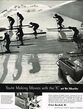 1934 BIG Vintage Cine Kodak K Movie Camera Ski Skiing Skiers Photo Print Ad