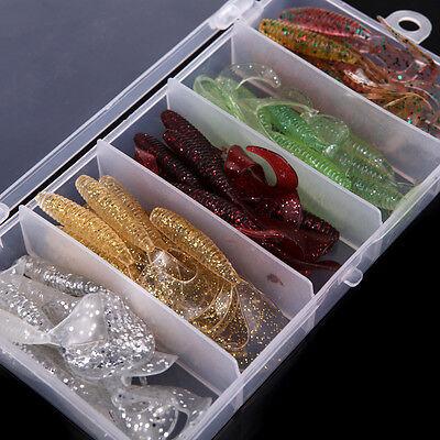 50Pcs Bionic Single Tail Soft Baits Fishy Smell Fishing Lures w/Fish Tackle Box