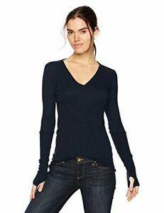 Enza-Costa-Women-039-s-Cashmere-Long-Sleeve-Cuffed-V-Neck-Top-Cadet-Size-Medium-VF