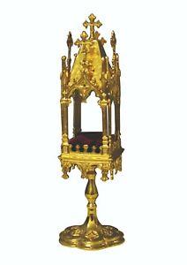 Reliquiario dorato ad oro fino a 4 fasce h cm 43 base cm 10x10
