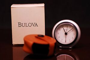 Bulova-Travel-Alarm-Clock-B6639-Leather-Cover-Box-Papers-Easy-To-Use-Loud-Beep