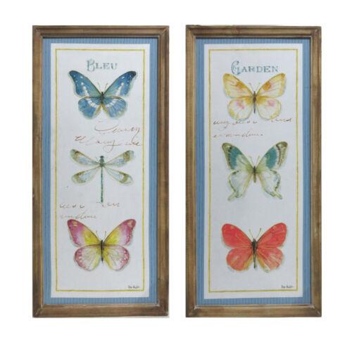 Set of 2 Rectangular Wooden Framed Canvas Prints with Botanical Butterfly Design
