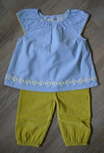 Baby Boden Girls Blue White Striped Tunic Top Mustard Cord Trouser 2 Piece Set