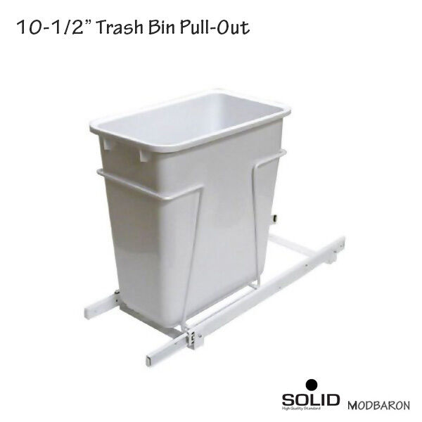 35 Quart White Polymer Waste Container Trash Bin Pull-Out For Kitchen Cabinet
