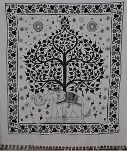Indian-Decorative-Elephant-Tapestry-Queen-Cotton-Tree-Of-Life-Gypsy-Bedspread