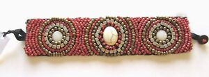 Fashion-Toggle-Bracelet-Beaded-pink-gold-silver-3-circles-wide-unique
