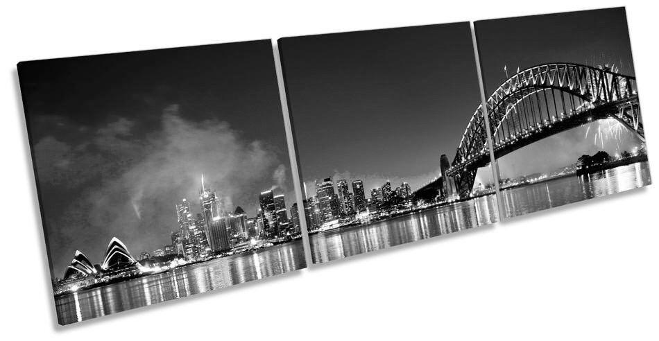 Sydney Skyline Fireworks B&W Bild CANVAS Wand Kunst Triple Drucken