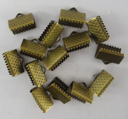 20 EMBOUTS  A GRIFFES POUR CORDON PLAT EN MÉTAL BRONZE 10 mm x 6 mm-cna027
