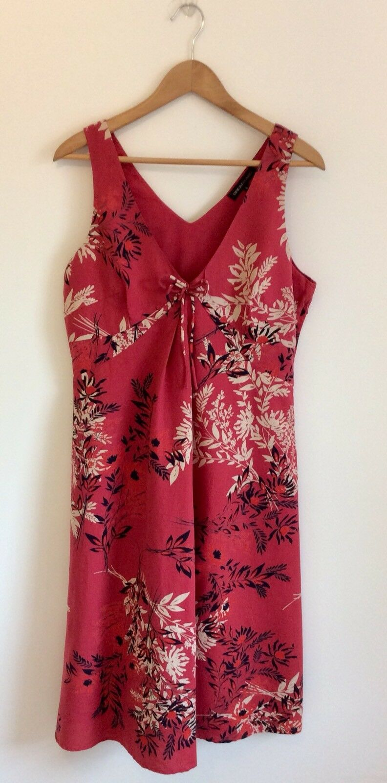 Great Plains Summer Floral Print Linen Cotton Red Ivory Black Sleeveless Dress L