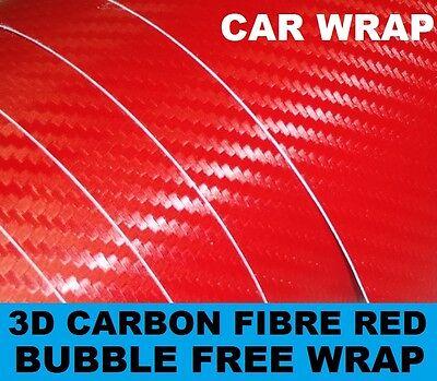 3D Red Carbon Fibre Vinyl 152 x 50cm - Bubble Free Car & Bike Wrapping Vinyl