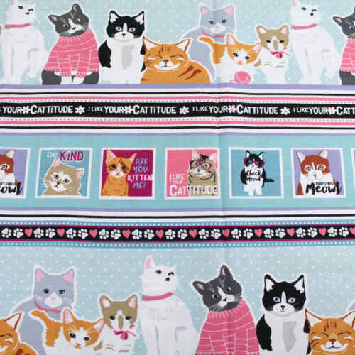 Catitude Cats Paws Collection By StudioE Fabric Quilting  Cats Lover Cotton