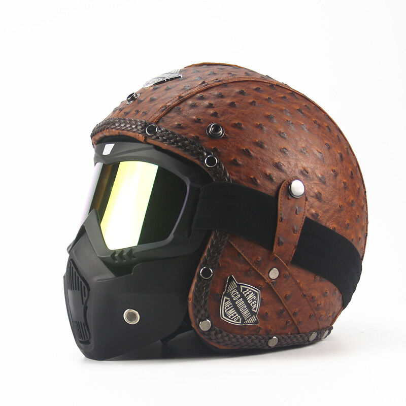 Motorcycle Chopper Bike Helmet Open Face Vintage with Goggle Mask Motocross New