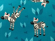"HILCO Baumwoll-Jersey ""Zebras"", türkis, 160 cm br, Mw, ab 0,5 m (€12,50/qm)"
