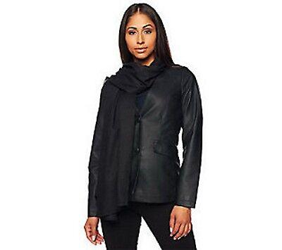 Jennifer Hudson Faux Leather Jacket Detachable Scarf Pockets Black Size L
