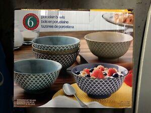 Details about 100% Porcelain Embossed Bowl Set 6-piece, Dishwasher &  Microwave Safe