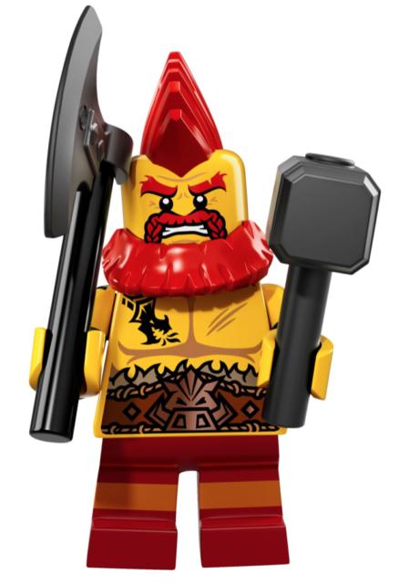 LEGO Battle Dwarf UNOPENED Minifigures Series 17 #10 hammer, axe, mohawk 71018
