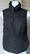 Famous Brand Black/Black Reversable Fabric/Faux Mink Fur Fitted Vest Sz S NWOT