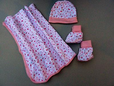 NEU Baby Mädchen Erstlingsset NEWBORN Geschenk Set Decke Mütze Schuhe 0-6 Monate