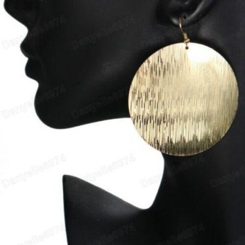 "2/"" grandes pendientes de Disco Redondo Patrón láser Textura Metal futurista de Oro de Moda"