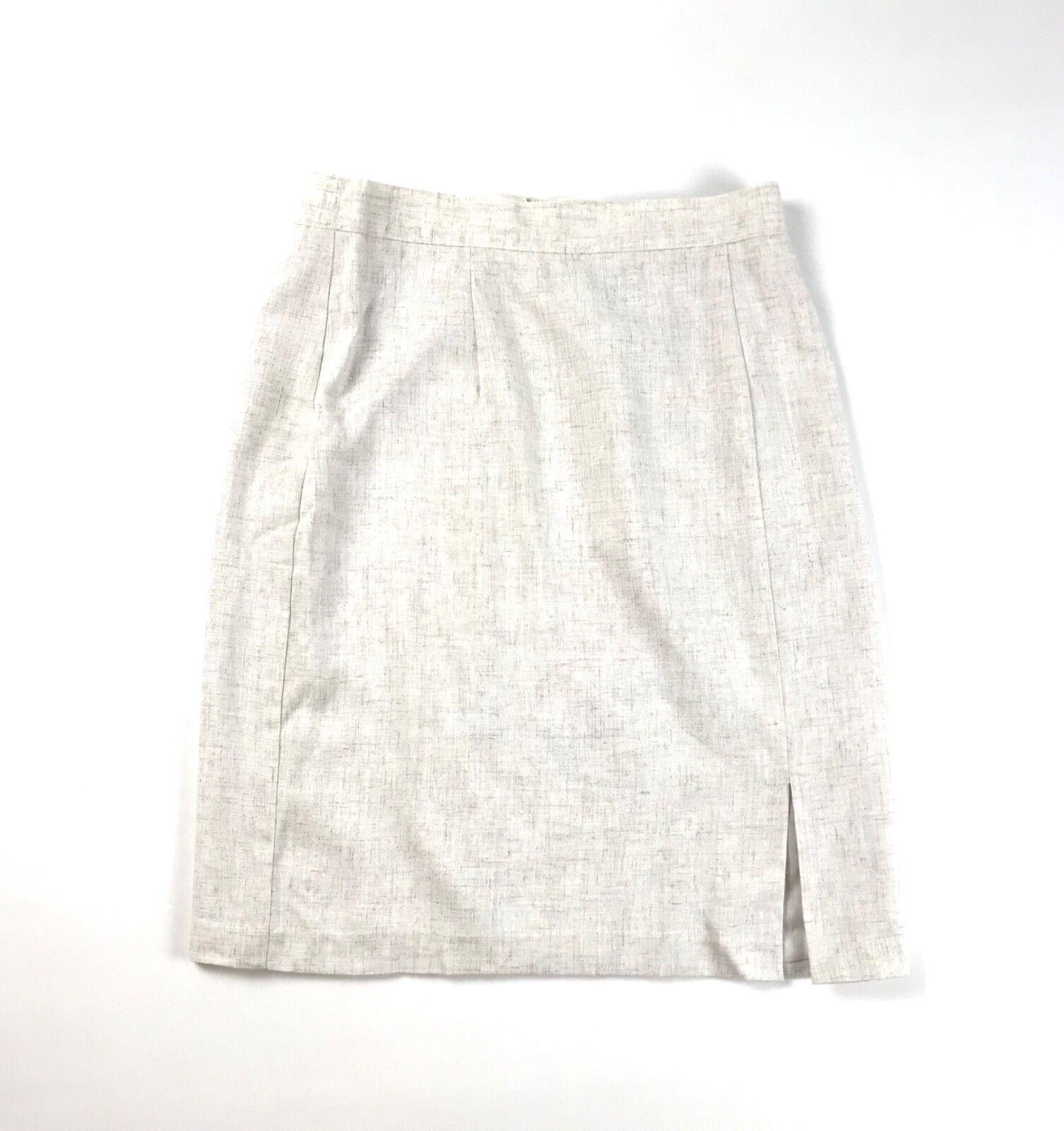 Vtg Sag Harbor Womans Sz 10 Linen Blend Lined Pencil Skirt Flax Color Career