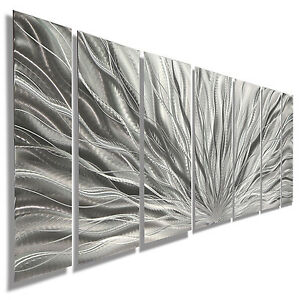 Image Is Loading Silver Modern Abstract Metal Wall Art Sculpture Home