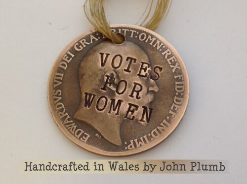 Edward VII Defaced Penny Coin Suffragette KeyFob Votes for Women Emily Pankhurst