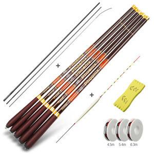 Details about Carp Fishing Rod Carbon Fiber Telescopic Hand Pole 3.6m 4.5m 5.4m 6.3m 7.2m Tenk