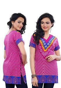 UK-STOCK-Women-Bollywood-Indian-Short-Kurti-Tunic-Kurta-Top-Shirt-78-C