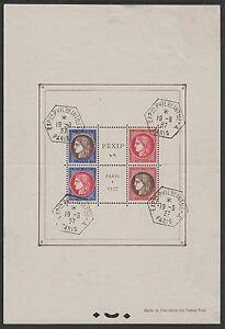 FRANCE-BLOC-FEUILLET-3-034-PEXIP-1937-034-OBLITERE-CACHET-EXPOSITION-TB-A-VOIR-P004