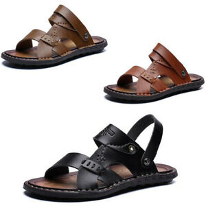 Men/'s Leather Sandals Open Toe Casual Shoes Summer Beach Slip On Flat Slippers