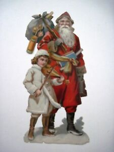 Vintage Christmas Die cut of Santa & Young Girl Playing Violin *