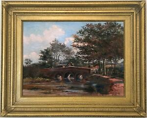 Anglers-in-a-River-Landscape-Antique-Oil-Painting-by-Leonard-Patten-1867-1947