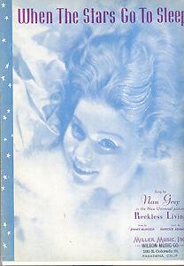 "Antiquarische Noten/songbooks Musikinstrumente Reckless Living Notenblatt "" When The Stars Go To Sleep "" Nan Grau"