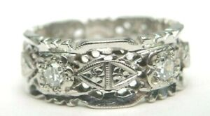 Antique-Art-Deco-Diamond-Eternity-Wedding-Band-14K-White-Gold-EGL-USA-Rg-Sz-7-5