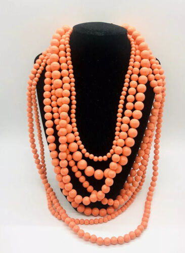 Fabulous Chunky Multi Strand Faux Coral Necklace L