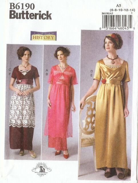 Butterick Sewing Pattern B6190 Womens 6-14 Making History Costume ...