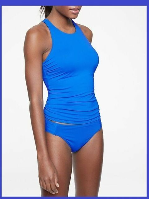 NWT $72 Athleta Twister Tankini Swim Top Dress Blue Swimsuit Sold Out Online