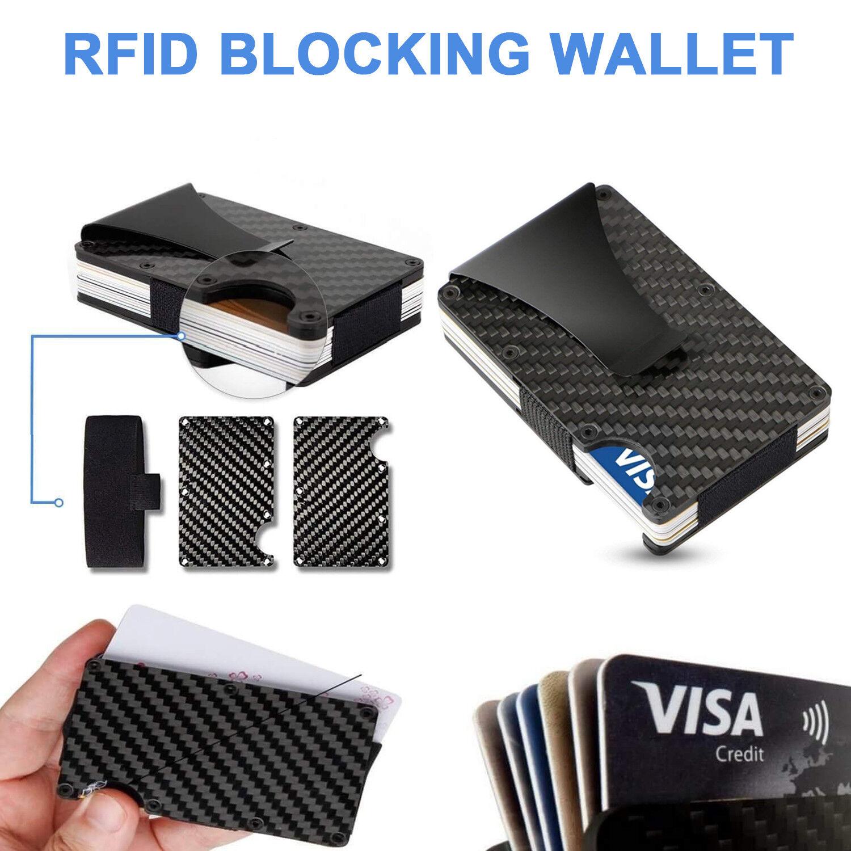Anti-scan Carbon Fiber ID Credit Card Clip Holder RFID Blocking Metal Wallet US